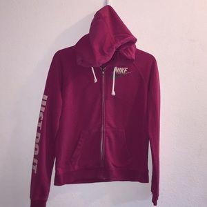 Nike Pink Hooded Zipper Sweatshirt Size Medium